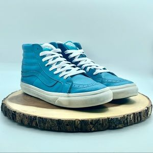 Vans Womens Leather Teal Sk8 Hi Size 7.5